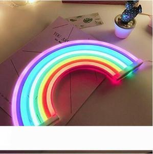 Nouveau mignon arc-en-Néon LED arc-en-lumière de la lampe pour Dorm Decor Décor arc-en-mur Lampe néon Décorations de Noël au néon Ampoule Tube
