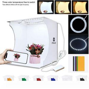 Mini anneau Lightbox pliant Portable Photo Studio Box Photographie Softbox boîte à lumière studio Prise de vue Tente Box Kit avec 6 toiles de fond