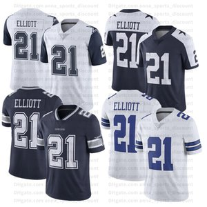 2020 Equipa de futebol americana Cowboys uniformes 21 Elliott Custom Series Lightweight Wearable T-shirt Sports Confortável