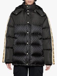 Фирменные Мужчины пуховик Дизайнер Мужской зима теплой Strip молния с капюшоном Outwear Моды Джентльмены Эластичная лента Толстого Stand Collar Coat