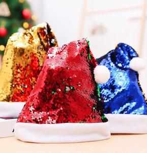Флип блесток Рождество Санта Hat Праздник Новый Шляпы для взрослых пришивания Санта партия шляпы 4 цвета LJJK2439