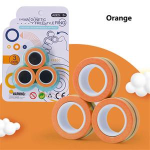 3pcs / set Anello di soccorso magnetico Fingears giocattolo Anti-Stress Lo stress Reliver l'anello di barretta Fidget Spinner Giocattoli Anelli magnetici per adulti per bambini da regalo