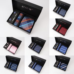 Manu Tie caja de regalo de alta gama de negocios de 6 piezas lazo grupo el sistema ocasional de los hombres de los hombres manu