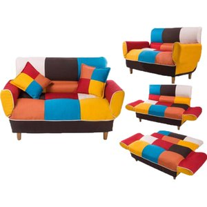 WACO Bedroom Modern Sleeper Lazy Sofa, Adjustable Back Round Arm Tufted Solid Wood Legs Queen Sofa Indoor Furniture Colorful