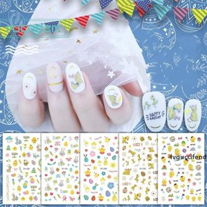 Easter Nail Decoration Nail Art Decal DIY Adhesive Manicure Tips Rabbit Egg Cartoon Nail Sticker for Party Festival Waterproof