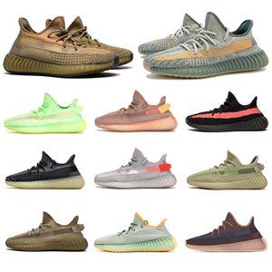 2020 Stock x des chaussures Earth Israfil Kanye West baskets de marque de designer de luxe femmes New Sneakers Mens Womens Running Shoes Desert ZEBRA Tail Light Trainers Size 48