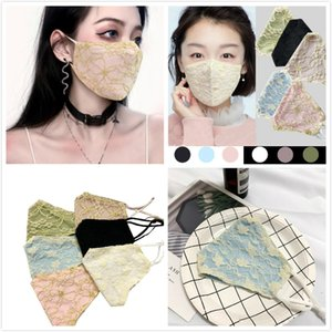 Cotton Breathable Thin Lace Face mask Anti Dust Cloth Face Women Masks Fashion Washable Earloop Adjustable Reusable Masks Party Mask