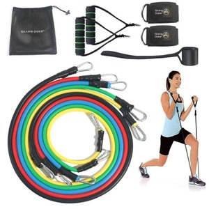 Cheap Resistance SKDK 11pcs Resistance set Home Latex Fitness Rope Set Training Muscle Exercises Workout Elastic Bands Fitness Equipment