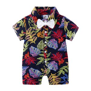 Jumpsuit Baby Baby 5 Floral Colors Printed POLO Infant Rompers Newborn Boys Turn-down Onesies Button Collar Kids Sleeveless Jumpsuits 0 Nknu