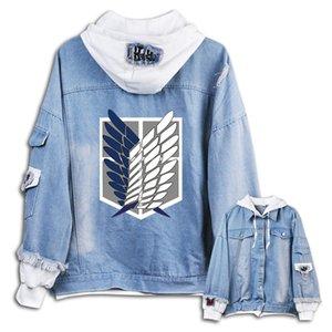 2020 Novo ataque na roupa Titan hoodie do Anime Eren Jaeger Homens Mulheres calças jeans Brasão manga longa jaqueta jeans