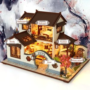 CUTEBEE Kids Doll House Furniture Assemble Wooden Miniature Diy Dollhouse Puzzle Educational Toys For Children Y200414