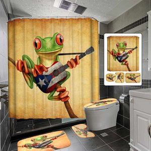 Polyester Bathroom Set Animal Frog Playing Guitar Bath Shower Curtain Waterproof Toilet Seat Cover Non-slip Bath Mat Carpet Rug T200711