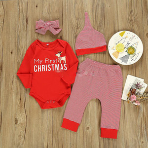 14 Styles Christmas Baby Clothing sets Infants Xmas Outfits Santa Claus Elk Print Clothes Plaid Pants Hat Set Toddler Boy Girls Suits
