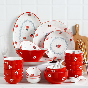 Ceramic Plate Dish Rice Fruit Salad Bowl Porcelain Tableware Dinner Plates Dishes Set Red Strawberry pattern
