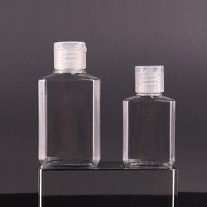 30ml 60ml Vazio garrafa de plástico de PET com cápsula garrafa forma quadrada transparente para a composição mão descartável DHB776 gel higienizador fluido