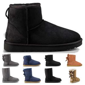 kadın kar botları üçlü siyah kestane kahverengi lacivert kırmızı moda klasik ayak bileği kısa çizme kış patik bize 5-10 womens