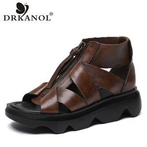 Scarpe DRKANOL donne gladiatore Sandali estate donne incunea della piattaforma Sandali Retro Genuine Leather chiusura lampo anteriore casual