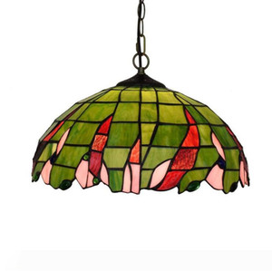 Tiffany Pendant Lamp 16 Inch Stained Glass Lampshade Anqitue Chandelier For Dinner Room Living Room Bedroom Decorative Lamp