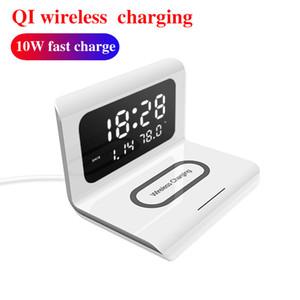 10W Qi Kablosuz Şarj Kablosuz samsung için iphone için Pad Termometre Takvim Clock Hızlı Şarj cargador inalámbrico Şarj
