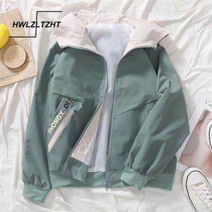 Kadınlar Sonbahar Beyzbol İçin HWLZLTZHT 2020 kadın ceketin bir Kapşonlu kadın palto Uzun Kollu Windproof Ceket