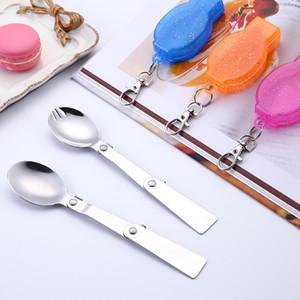 Dîner en acier inoxydable cuillère à café extérieur portable Fourchette Fold Louche à soupe Boîtes Vaisselle Accessoires de cuisine Joli 2 7ys E2