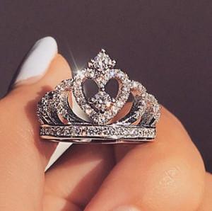 Banda de plata S925 anillo de las mujeres Rhinestone de la corona dedo de la joyería de Bling del anillo completo de cristal Corona de la manera del anillo de regalo de las mujeres del banquete de boda
