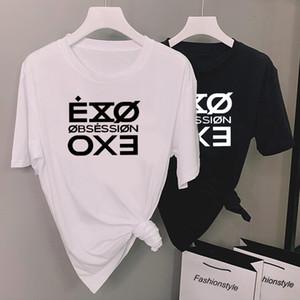 Mode-Buchstabe gedrucktes T-Shirt Frauen Kpop Exo Obsession T-Shirt-beiläufige kurze Hülsen-T-Shirt Tops Unisex Fasns Kleidung MX200721
