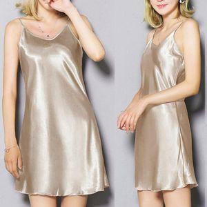 Женщины Nightgown пижамы сексуальное женское белье сна одежда платье Sling Homewear Ночное сатин Nightdress Женская одежда Nightdress # W