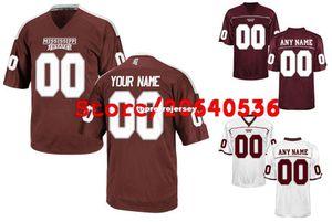 Baratas do costume Mississippi State Bulldogs Colégio camisa Mens Mulheres Juventude Kid personalizado Qualquer número qualquer jerseys costurado Branco Futebol de nome
