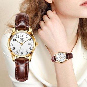 Donna Orologi OLEVS marca superiore del vestito da modo autentico orologio impermeabile in pelle marrone casuale di lusso per Lady 5566 CX200723