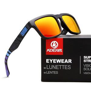 Kdeam Eyewear Reflective Coating Fashion Square Men Polarized Sunglasses Brand Designer Summer Sun Glasses Polaroid Full package