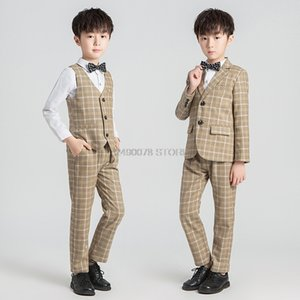 Kids Birthday Party jacket Vest Pants Tuxedo Suit Flowers Boys Formal wedding Suit Children Piano Prom Ceremony Costume 2-12Y