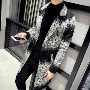 2020 Зимние пальто мужские длинные пальто мужские Printed Длинные пальто Южная Корея Одежда Весте Longue Homme Gabardina Ларга Hombre