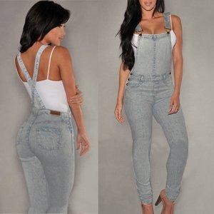 Las mujeres Denim Jeans BIB pantalones casuales primavera flacos otoño Pantalones Trajes de correas Mono mamelucos atractivos Pockets Jeans Mono largo
