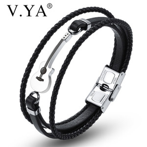 V.YA New Style Multilayer Leather Guitar Engraved Black Bracelets Simple Rope Chain Stainless Steel Magnet Brown Bangle