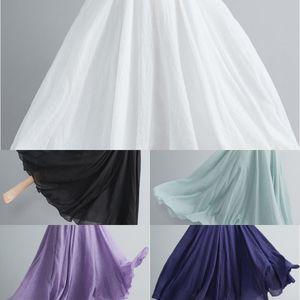 FOjFy Mori menina artística de algodão tamanho grande e saia de linho cintura elástica mian ma Qun mian ma Qun algodão linha A- vestido e linha linho skirt-