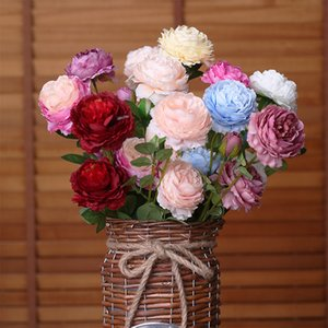 10Pcs lot 3 Heads Rose European Artificial Peony Silk Flowers for Home Decor Wedding Fake flowers Wall Wreath Decoration