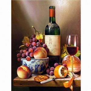 Chunxia encadrée bricolage Peinture par numéros Vin Fruit Peinture acrylique Image Home Decor moderne pour Living Room 40x50cm RA3038 gBIZ #
