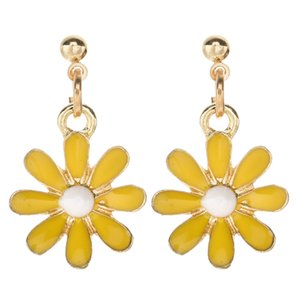 Stud Earring Daisy Flower Alloy Earring New Female Eight Petals Dangle for Women Vacation Jewelry Accessory