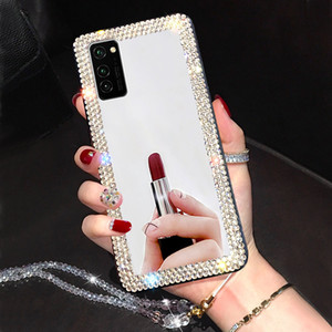 Miroir strass téléphone portable pour Samsung Galaxy A71 A51 A21 A01 A10 Ae S20 Ultra S10 S8 S9 Note 10 9 8 Plus Jeweled Couverture souple
