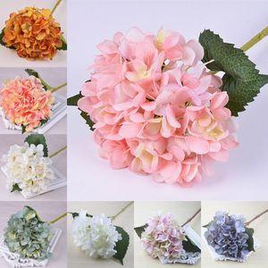 47cm Artificial Hydrangea Flower Head Fake Silk Single Real Touch Hydrangeas Wedding Centerpieces Home Party Decorative Flowers