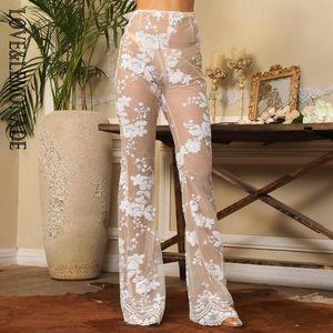 AŞK LEMONADE Beyaz Çiçek Sequins Trompet Pantolon, LM1488 Astar Mesh