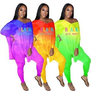 Negro Magic Girl impresión de la letra conjuntos de dos piezas floja sudaderas con capucha superior del chándal de manga larga V-cuello de la camiseta Pantalones Casual Ropa D8508