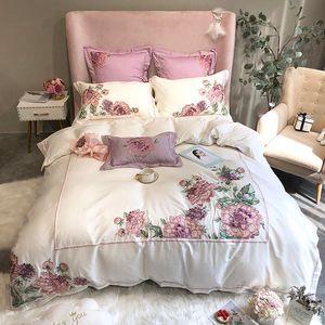 Luxury embroidery bedlinen flowers Bedding Set King Queen Size Bed Linen egyptian cotton Duvet Cover Bed Sheet Set Pillowcases