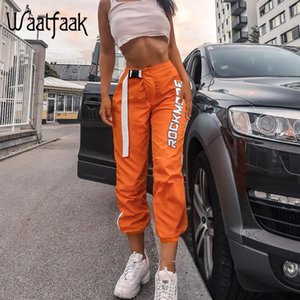 Waatfaak Casual Patchwork Pencil Pants High Waist Buckle Belt Trousers Women Orange Zipper Pocket Sweatpants and Joggers Fitness T200714