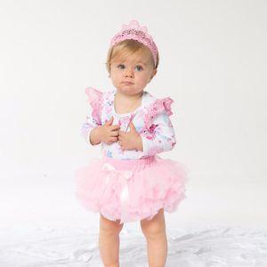 YK&Loving Birthday Party clothes New Baby Girl Clothing Pink Cartoon Long Sleeve Baby Rompers Tutu skirt headband 3Pcs Set Gift