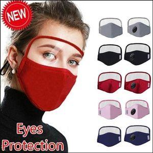 EEUU Stock diseñador de la máscara facial de algodón con el ojo del escudo PM 2.5 Válvula respiratoria lavable Ciclismo Máscara 2 Capas