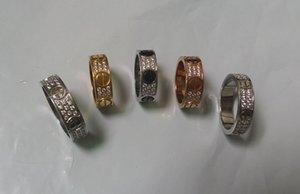 Anneaux Bijoux fantaisie fiançailles titane acier anneau de mariage 2/3 lignes avec Zircon diamant pour les hommes et les femmes