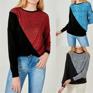 Frauen Sweatshirts Leopard Patchwork O-Ansatz lange Hülsen-lose Frauen Hoodie Frühlings-Herbst-beiläufige Pullover Frauenkleidung