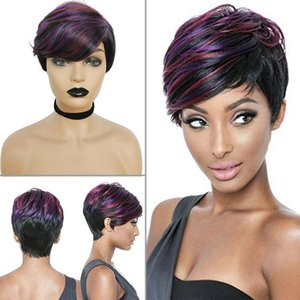 Lady's Pixie Wigs Black Purple Cut Short Curly Hair Synthetic Full Wigs Costume